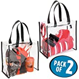 mDesign Clear-View Stadium Tote Bag Storage Organizer with Smooth-Glide Zipper Closure, Shoulder Straps - Perfect for Work, Sports Games, Beach, Travel - Pack of 2, Clear/Black Trim
