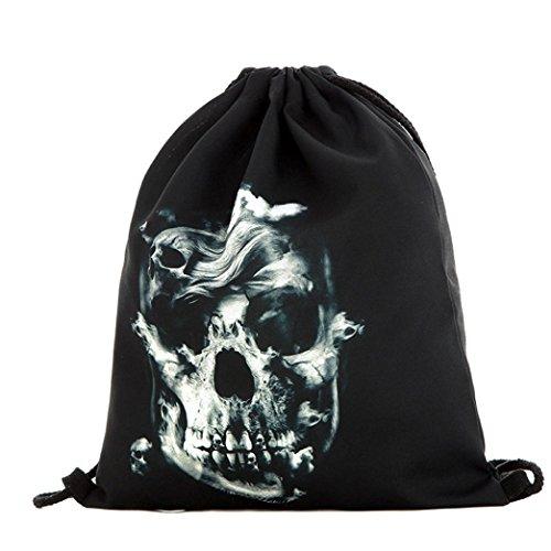 Hometom Halloween Drawstring Backpack Candy Bag 3D Printing Bags Gift (C)