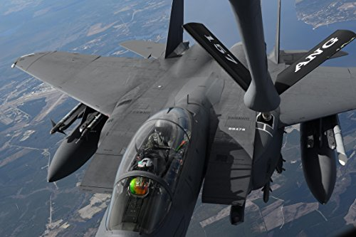 Home Comforts Laminated Poster Pilots in an F-15E Strike Eagle Receive Fuel from a New Hampshire Air National Guard KC-135R Stratot Vivid Imagery Poster Print 24 x 36