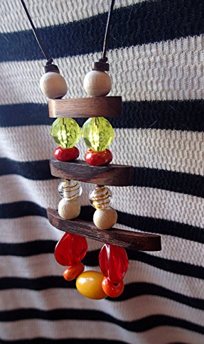 ART::WEAR Necklace by Cherie Lester, Organic Wood, Ceramic, Vintage Resin, Wood and Glass Beads on Genuine Leather -