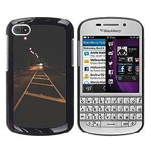 For BlackBerry Q10 Case , City Lights Vignette Freedom Drive - Diseño Patrón Teléfono Caso Cubierta Case Bumper Duro Protección Case Cover Funda
