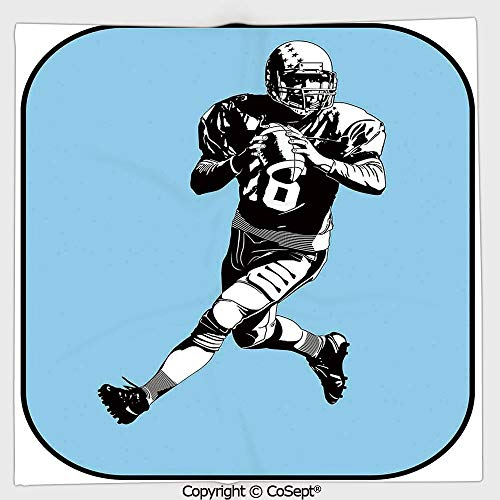 - AmaUncle Long-Lasting and Soft Square Towel,American Football League Game Rugby Player Run Original Retro Illustration,for Men Women(9.84x9.84 inch),Blue Black White