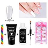 Polygel Starter Kit-Aolvo Finger Extension Enhancement Tool Quick Building Gel+ 100ps Nail Tips Mold(Transparent)+Rainbow Nail File+Nail Liquid Slip Solution+ Dual Head Nail Brush