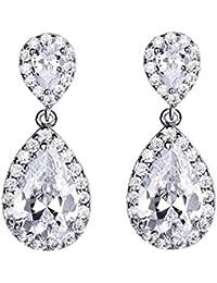 Silver Wedding Tear Drop Crystal Dangle Earrings Bridesmaid Gift Jewelry for Women