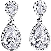 DDH Silver Wedding Tear Drop Crystal Dangle Earrings Bridesmaid Gift Jewelry for Women