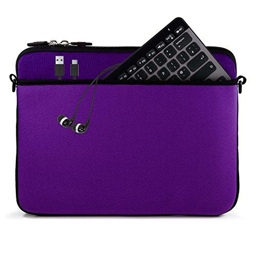 Kroo 12-13 Inch Laptop Sleeve Tablet Bag, Water Resistant Neoprene Notebook Computer Carrying Cover for MacBook, Microsoft Surface, Chromebook (Purple) by Kroo (Image #2)