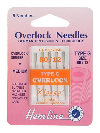 Hemline H107.G Med (G) Overlocker Machine Needles | 5x 80/12 | Overlocker/Serger Groves