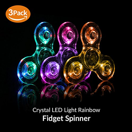 Fidget Spinner [5 Pcs] MEGA Pack, Crystal Led Light Up Rainbow Toy, Clear Fidget Toy |The Mesmerizing Led Lights| Sensory Finger Fiddle Toy |For Boredom Adhd Anxiety Stress Relief |Adults, Boy N Girls