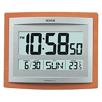 casio id15s5 wall and table wood grain pattern clock temperature digital auto