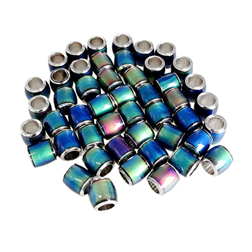 MagiDeal 50Pcs Wholesale Color Changing Smooth Mood Thermo Sensitive Loose Beads Barrel Spacer DIY Making Jewelry for Bracelet Necklace
