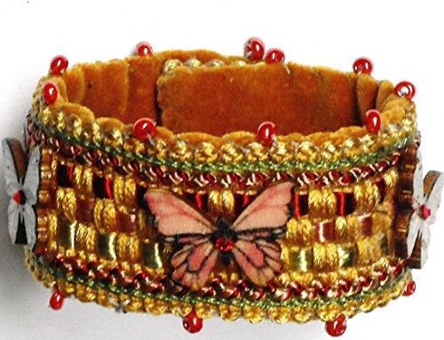 Handmade Swarovski Crystal Beaded Bracelet (Handmade Soft Fabric Beaded Butterfly Cuff Bracelet with Swarovski Crystal Rhinestones)