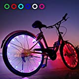 AOYOO Bicycle Wheel Light Night Light (1 Tire Pack) Waterproof 7 Color Outdoor Lighting Bicycle Tire Accessories You Can Choose Your Favorite Color 18 Flash Pattern Personality Selection, Safety Spoke