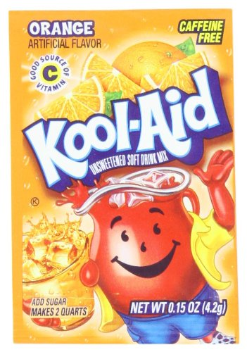 Kool Aid Orange Unsweetened Drink Mix, Makes 2 Quarts (0.15 oz Packets, Pack of 96)