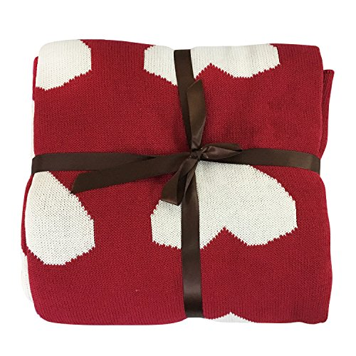 Brandream Red Heart Throw Blanket Soft Cotton Blankets For Bed/Couch Decorative Throws Best Gift 51 X 63 IN (Heart Quilt)