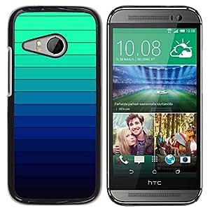 TopCaseStore / la caja del caucho duro de la cubierta de protección de la piel - Gradient Color Stripes Blue Green Light - HTC ONE MINI 2 / M8 MINI