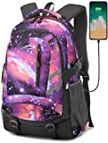 ANTSANG Backpack Bookbag for School Student College Business Travel with USB Charging Port Fit Laptop Up to 15.6 Inch Night Light Reflective Anti Theft (Galaxy G (Purple&Orange))