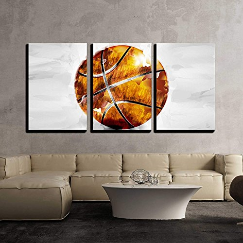 Vector Basketball Ball in Watercolor Style x3 Panels