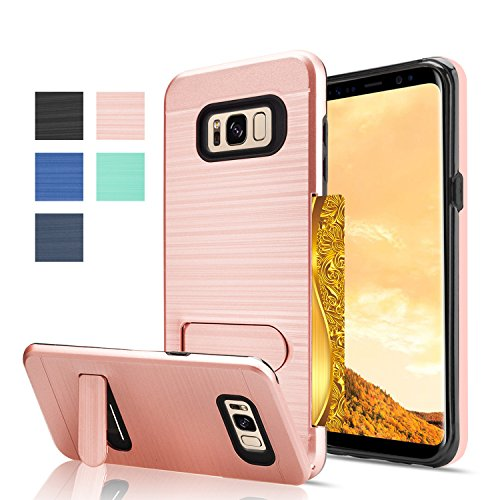 Price comparison product image Galaxy S8 Case,AnoKe [Card Slots Wallet Holder] Kickstand Hard Plastic PC TPU Soft Hybrid Shockproof Heavy Duty Protective Cases Cover for Samsung Galaxy S8 KC1 Rose Gold New