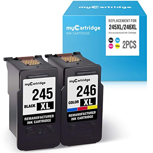 myCartridge Re-Manufactured Ink Cartridge Replacement for Canon PG-245XL CL-246XL 245 246 (1 Black 1 Tri-Color, 2-Pack) Work with Canon PIXMA MX492 MX490 MG2520 MG2522 MG3022 MG2922 TS3120 TS3122 ()