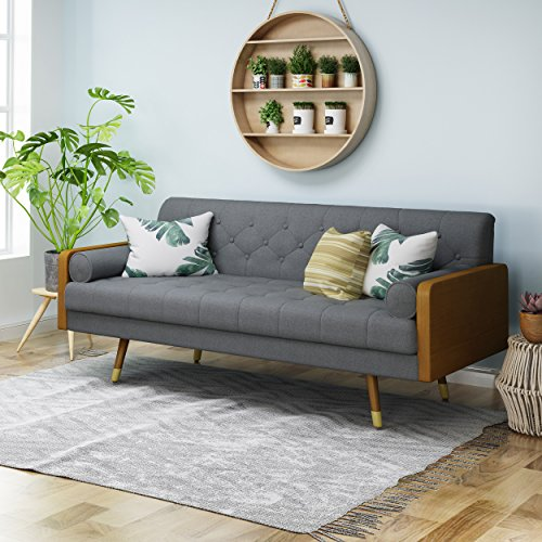 Christopher Knight Home 305139 Aidan Mid Century Modern Tufted Fabric Sofa, Gray,