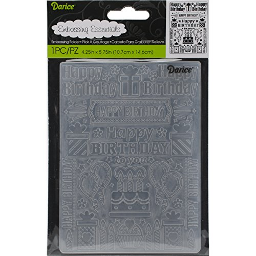 "Darice Embossing Folder 4.25""X5.75"", Birthday Collage"