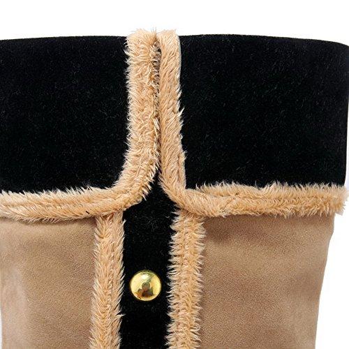 AllhqFashion Damen Mittler Absatz Eingelegt Rund Zehe Nubukleder Ziehen auf Stiefel Aprikosen Farbe