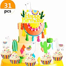 JeVenis 31 Pcs Birthday Llama and Cactus Cupcake Toppers Alpaca Cupcake Picks Llama Cactus Cake Topper for Mexican Fiesta Theme Party Baby Shower Birthday Party