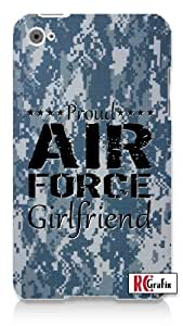 Proud Air Force Girlfriend Digital Blue Camo Military Camouflage Apple ipod 5 Ipod 5g Quality Hard Case Snap On Skin for ipod Gen 5 and 5, 5G (WHITE CASE)