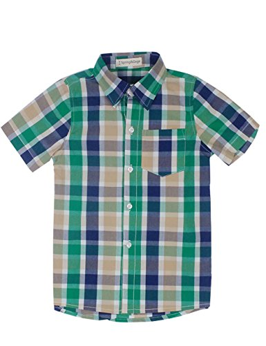 Check Plaid Sport Shirt - Spring&Gege Boys' Casual Short Sleeve Check Plaid Soft Sport Shirts, Green Purple Khaki, 7-8 Years