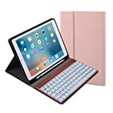 For iPad 9.7 inch 2018 2017 Keyboard Case. 7 Color Backlit with Built-in Apple Pencil Holder,Slim Folio Cover Removable Wireless Bluetooth Keyboard for iPad Air/Air 2/iPad Pro(Rose Gold)
