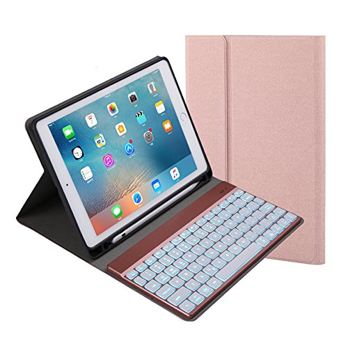 Keyboard Pencil (For iPad 9.7 inch 2018 2017 Keyboard Case. 7 Color Backlit with Built-in Apple Pencil Holder,Slim Folio Cover Removable Wireless Bluetooth Keyboard for iPad Air/Air 2/iPad Pro(Rose Gold))