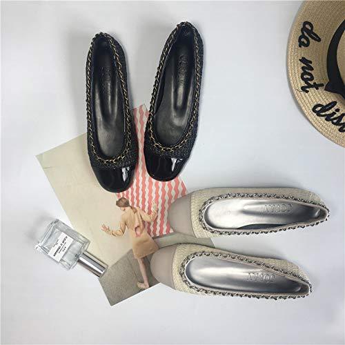 Qiusa Metall-Ballett-Ebenen-Frauen-eleganter Metall-Ballett-Ebenen-Frauen-eleganter Metall-Ballett-Ebenen-Frauen-eleganter zufälliger Beleg auf Schuhen (Farbe   Schwarz Größe   EU 37) 8723f8
