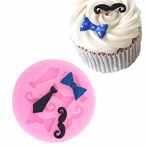 MoldFun Tiny Size Bow Tie Necktie Mustache Silicone Mold for Fondant Sugar Craft Mould Chocolate Candy Craft Cake Topper Decorating (Pink/White)]()