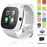 Smart Watch Bluetooth Unlocked Wristwatch Cell Phone With Camera SIM TF Card Slot Sport Fitness Tracker Sweatproof for Men Women Boys Girls for Android Smartphones Samsung Motorola LG HTC (White)