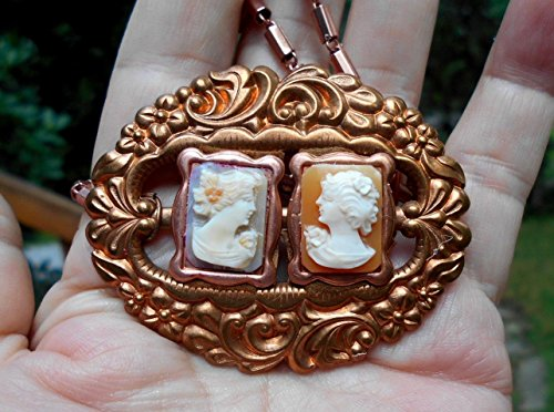 (Sisters, Vintage Hand Carved 2 Shell Cameo of Lady's Portrait, Left & Right Facing, Bezel in Vintage Art Nouveau Copper Buckle on Copper Necklace. ONE OF A KIND!)