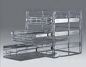 Cesta extraíble para muebles de cocina (3 cestas), acero, 30-er Auszug: Amazon.es: Hogar