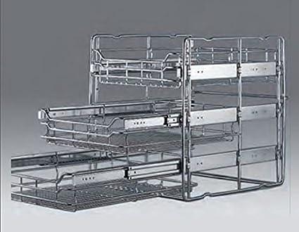 Cesta extraíble para muebles de cocina (3 cestas), acero, 30-er
