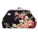Rurah Women Rose Pattern Canvas Purse Coin Pocket Wallet Key Holder Case Bag,black