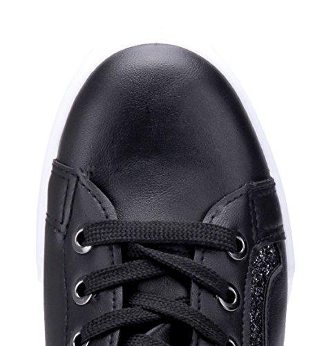 2b7c8830961c30 ... Schuhtempel24 Damen Schuhe Low Sneaker Flach Glitzer Schwarz ...