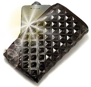 """""""Princesa"""" Negro, Lujosa billetera de cuero de imitación acolchonado con cierre para LG GD880 Mini. Auténtica Funda / Estuche con correa para transportar para teléfonos móviles."""