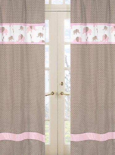 Sweet Jojo Designs 2-Piece Pink and Brown Mod Elephant Window Treatment Panels