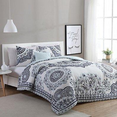 vcny home kaya 4piece fullqueen comforter set in mintgrey