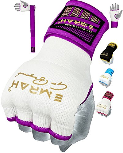 Inner Training - EMRAH Pro Training Ladies Boxing Inner Gloves Hand Wraps MMA Fist Protector Bandages Mitts (Medium, Purple)