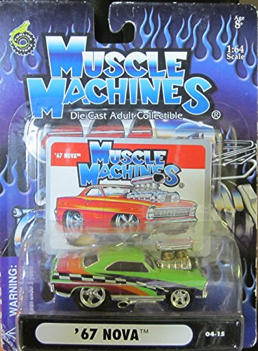2004 Supercharged - 2004 Muscle Machines Green Supercharged '67 Nova # 04-15 - Die Cast Adult Collectible 1:64 Scale
