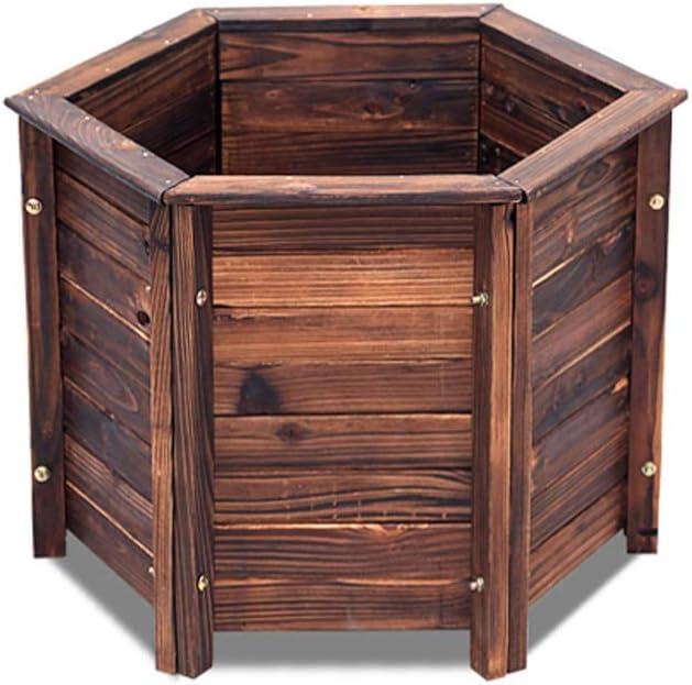 DLT Caja de Maceta de Madera Hexagonal Grande con Orificio de Drenaje Inferior, Caja de exhibición rústica for árbol, exhibición de Centro de Mesa, Esquinas de Cama elevada de jardín de Flores