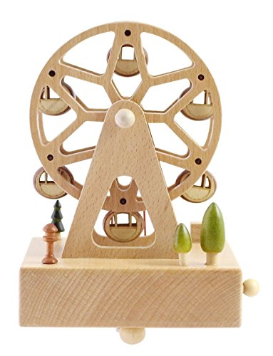Cute Quality Made Wooden Musical Box Featuring Ferris Wheel With Small Swinging Cabins | Plays