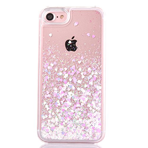 iPhone 6s plus case,iphone 6 plus case, liujie Liquid Cool Quicksand Moving Stars Bling Glitter Floating Dynamic Flowing Case Liquid Cover for Iphone 6s plus 5.5inch (pink+white) ...