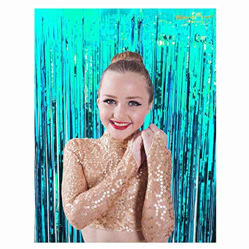ShinyBeauty 6FTx8FT-Turquoise-Foil Fringe Curtain,Metallic Curtain,Party Fringe Backdrop,Sequin Wedding Backdrops,Fringe Curtain for Tassel Garland,Tinsel Foil (Turquoise)
