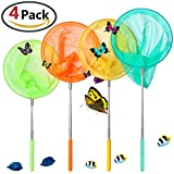 Toys : GeMoor 4Pcs Telescopic Butterfly Net Catching Insect Bugs Fishing Tool for Kids Toy Outdoors Extendable 34'' Inch