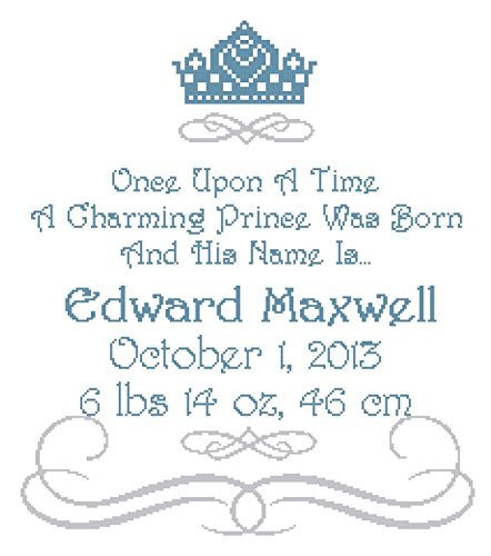 Pattern Only Once Upon a Time Prince Wall Art Cross Stitch Pattern Birth Announcement / Birth Record
